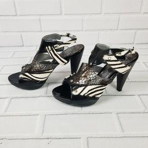 BKE Black & White Zebra Snake Skin Print Heels 9